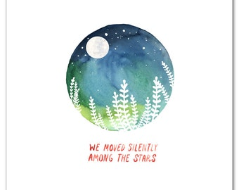 Among The Stars Art Print On Sale 50% Off,  Watercolor Painting, Wall Art, Moon and Stars, Cosmos, Universe, Little Truths Studio