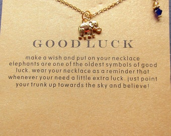 Good Luck Elephant Necklace with Gift Card ~ Gold plated/ Gift for Elephant Lover, Quote Jewelry, Elephant Necklace, Good Luck Jewelry