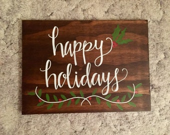 Happy Holidays Wood Sign