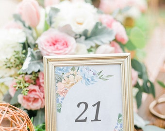 Floral Table Numbers, Rustic Table Numbers, Table Number Cards, Dusty Blue Table Numbers, Table Numbers Printable, Table Decor