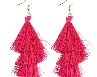 Dangle Tassel Fringe Earrings - Fuchsia