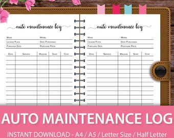 Car Maintenance Log, Car Maintenance Schedule, Car Maintenance Tracker, Car Maintenance Information, A4, A5, Letter Size, Half Letter