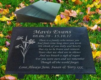 Memorial Grave Marker with Daffodil Design