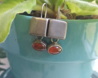 Vintage silver and carnelian earrings