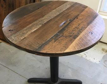 Delightful Round Dining Table Top,reclaimed Wood Variety Pattern, ADD A BASE