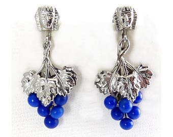 1920s Egyptian Revival King Tut Head & Blue Glass Grape Cluster Drop Ears - Art Deco