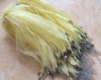 10 pcs Lemon Yellow Organza Ribbon Waxed Cotton Cord Necklace,Lemon organza ribbon,waxed cord necklace,Lemon waxed cord,Lemon organza ribbon