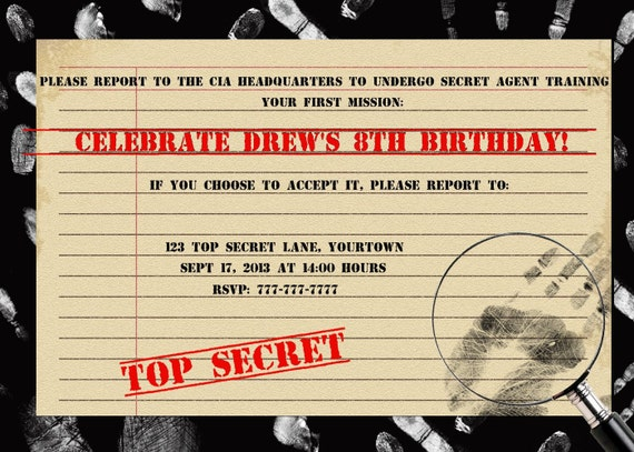 Items similar to 007 top secret agent birthday invitation or thank items similar to 007 top secret agent birthday invitation or thank you card personalized custom printable digital file on etsy filmwisefo