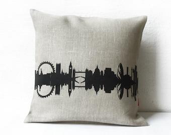 Linen LONDON Pillow Case, London Cushion Cover, LONDON home decor, LONDON Gift, birthday anniversary, wedding pillow, London nostalgia,
