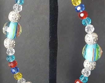 Multi Color Bracelet made with Glass Beads.