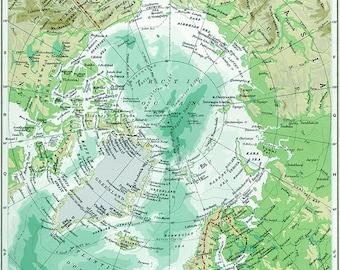Vintage Map Arctic Ocean Alaska Canada Germany Greenland