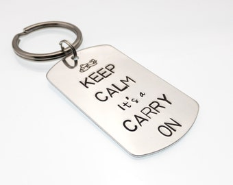 Flight Attendant Keychain   Keep Calm it's a Carry On   Flight Crew Gift   Cabin Crew Key Chain   Suitcase Tag   Hand Stamped Pilot Gift