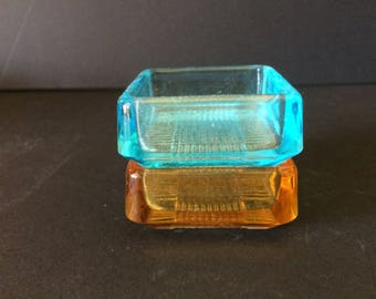 Vintage Set of Two Small Glass Ashtrays - 1960