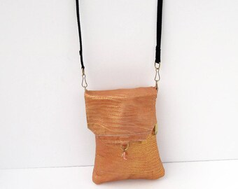 Golden Snakeskin Genuine Leather, Embossed,  Extra Large Cell Phone Purse with Flap