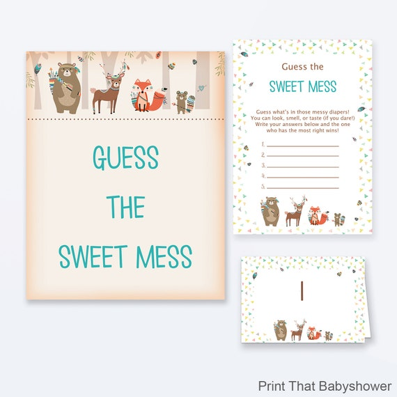 Sweet Sweet Baby Baby Shower Game: Baby Shower Games Guess The Sweet Mess Game Woodland Baby
