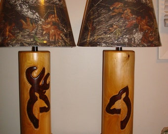 Pair of buck and doe lamps