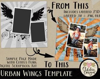 Layered Template Digital Scrapbooking - Urban Wings Layered 12x12 PSD Template - Digital Photo Template, Photography Template, PSD Template