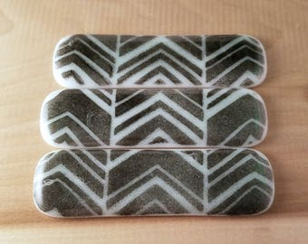 Fused Glass  Mint Green and Black Chevron Drawer Pull