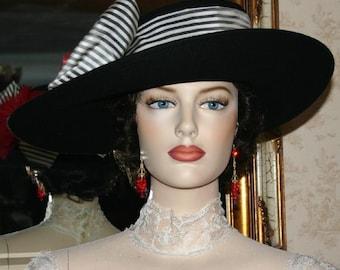 Kentucky Derby Hat Edwardian Ascot Hat Downton Abbey Hat Titanic Tea Party Hat Women's Black Hat Wide Brim Hat - Lady Olivia