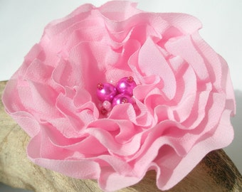 Pale Pink Flower Hair Clip  | Gentle Floral Hair Pin | Fabric Flower Hair Accessory | Fabric Flower Brooch