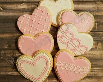 12 Heart Sugar Cookies - Valentines Day Sugar Cookies - Wedding Sugar Cookies - Bridal Shower Sugar Cookies - Bridal Shower Favors