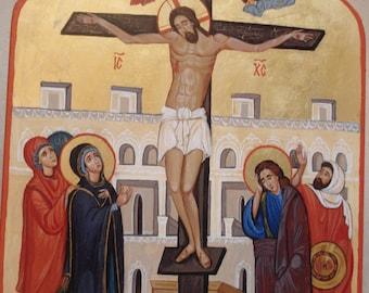 "Handpainted  Orthodox  icon  ""Crucifixion  of  Jesus"",Byzantine icon"
