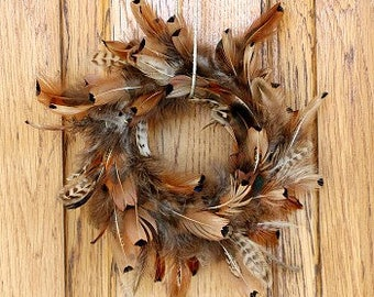 Small Decorative Natural Pheasant Feather Wreath -WRPH8--N