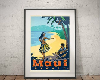 maui, maui travel poster, wall decor, vintage