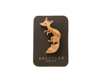 Fox Pin bamboo wood forest animal theme