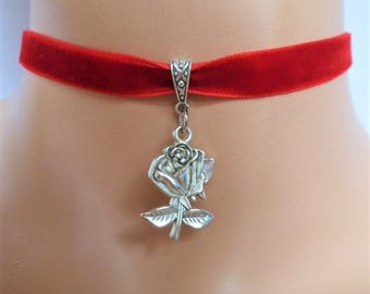 rose velvet choker, red choker, rose necklace, antique silver tone