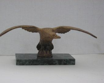 Bronze Eagle Desk Sculpture on Marble Base