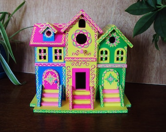 Brownstone Style Birdhouse/ Handpainted/ Bright Colors/ Floral Designs/ Doodles and Dots/ Yellow/ Bright Green/ Bright Blue/ Bright Pink