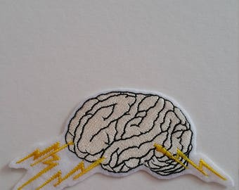 Flash human brain iron on or sew on patch Brain iron on patch Brain sew on patch Brain path Brainstorm patch Anatomy patch Human brain patch