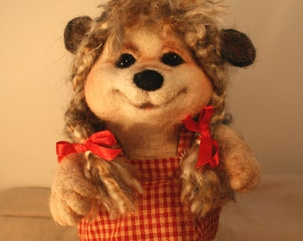 Needle Felted Hedgehog (girl with a red dress)