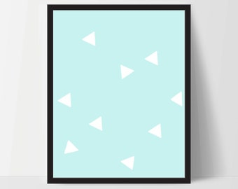 Triangle Wall Print, Baby Blue White, Artwork, Home Decor, Modern Contemporary, Print Art, Instant Download, Boho, Nursery, Baby, Digital