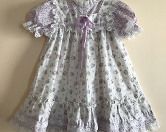 80s Baby Dress, Purple, White, Bow Age, 1980s, ILGWU, Floral, Flowers, Short Sleeves, Country Dress, Cute Dress, Vintage Baby Clothes