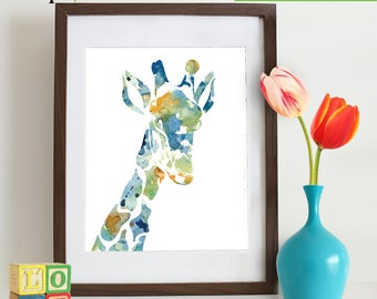 INSTANT DOWNLOAD- Watercolor Giraffe Print, Watercolor silhouettes, Safari animals, Cute giraffe , africa, Nursery Print,
