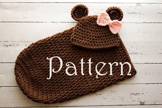 Crochet PATTERN Newborn Bear hat and cocoon Photo Prop Set