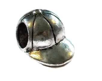 Baseball Cap Bead - Paracord Beads 5mm Hole great for Parachute Cord Braiding Projects - Cute Metal Charms