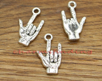 20 Hand Sign Charms I Love You 2 Sided Charms Antique Silver Tone 12x22mm cf0772