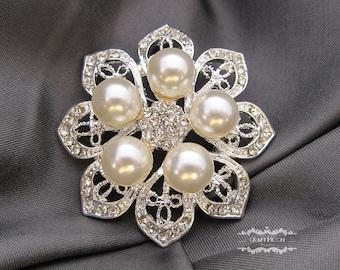 1-5 Rhinestone Pearl Brooch Silver Pin Large Brooch Button Crystal Wedding Brooch Bouquet Embellishment Flower Bridal Hair Cake Shoe BR503
