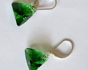 Green Swarovski Earrings, Swarovski Triangle Earrings, Swarovski Jewelry