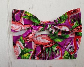 1950s Purple Tropical Flamingo Bow Head Scarf - Rockabilly Pin Up Hair