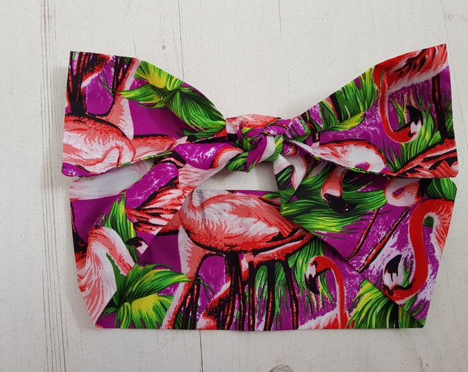 1950s Purple Tropical Flamingo Bow Head Scarf - Rockabilly Pin Up Hair