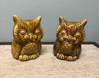 Pair of Vintage Wise Owl Ceramic Pottery Planters