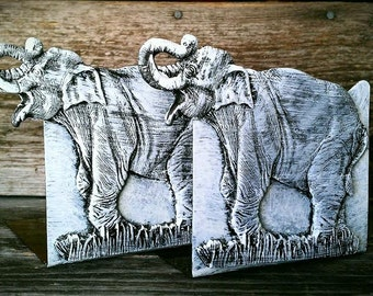 S A L E Vintage Metal Book Ends, Set of 2 Elephant Book Holders, Shabby Chic Home Decor