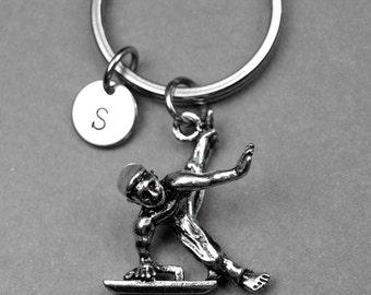 Gymnast keychain, gymnast charm, male gymnast keychain, box horse gymnast, personalized gift, initial keychain, initial keychain, monogram