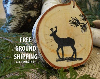 deer ornament, birch ornament, Christmas ornament, Christmas gift, deer painting, rustic ornament,birch tree ornament,wall hanging,