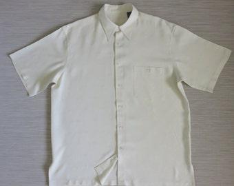 Hawaiian Shirt TORI RICHARD Vintage 90s 100% Silk Tropical Palm Tree Diamond Pattern Vanilla Cream Camp Mens - L - Oahu Lew's Shirt Shack