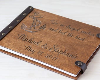 Wedding Guest Book, Nautical Wedding, Beach Wedding, Guest Book, Custom Guest Book, Wedding Guestbook, Wedding, Wood Guest Book, Guestbook